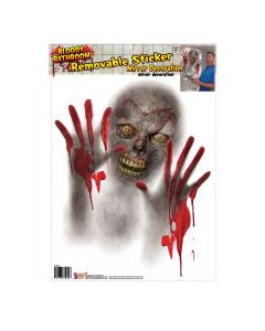 "Forum Bloody Ghost Zombie Removable Mirror 12"" Mirror Cling, Red Grey"