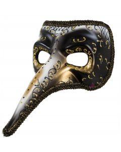 Forum Half Mask Long Nose Venetian Mask, Black Gold Silver, One-Size