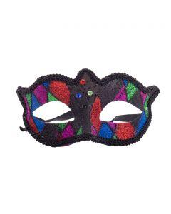 "Beautiful Sparkle Jester Mardi Gras Half Mask, Black Purple Green, One-Size 7"""