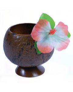 Forum Hawaiian Luau Plastic Coconut w Flower 16oz. Party Cup, Brown