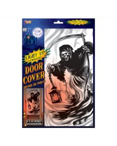 "Grim Reaper Skeleton With Light Up Red Lantern 30"" x 60"" Door Cover, Black White"