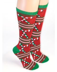 Forum Candy Cane Christmas Knee Socks, Red White Green, One-Size