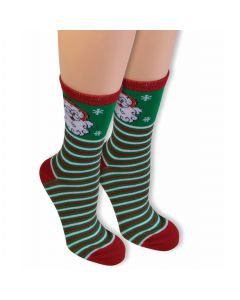 Forum Santa Christmas Elf Horizontal Striped Socks, Red Green, One-Size