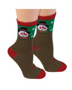 Forum Festive Holiday Snowman Christmas Ankle Socks, Red Green, One-Size