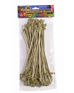 "Forum Hawaiian Luau Party Decor Bamboo Drink 100pc 7"" Stirrers, Brown"