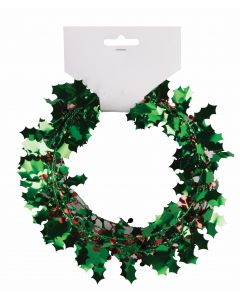 Forum Christmas Holly Holiday Decor Tinsel 25' Wire Garland, Green Red