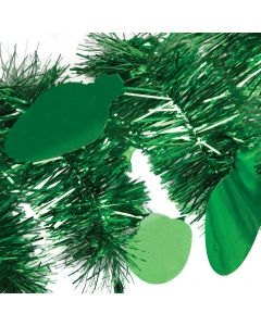 SKD Party Holiday Decoration Christmas Light Bulb 9' Tinsel Garland, Green