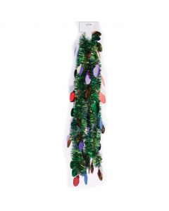 Holiday Decoration Christmas Light Bulb Hanging 9' Tinsel Garland, Green Multi