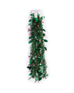 SKD Party Holiday Decor Christmas Holly & Berries 9' Tinsel Garland, Green Red