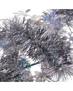 SKD Party Holiday Decor Sparkly Snowflake Christmas 9' Tinsel Garland, Silver