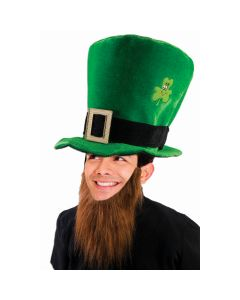 St. Patricks Day Jumbo Costume Hat With Long Beard Attachment, Green Gold