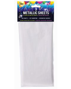 "SKD Metallic Sheets Wrapping 18""x30"" Gift Wrap, White, 3 Pack"