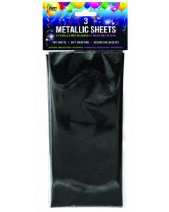 "SKD Metallic Sheets Wrapping 18""x30"" Gift Wrap, Black, 3 Pack"