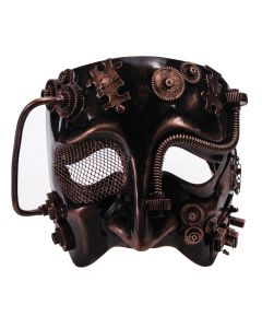 Forum Wire Eye Steampunk Gears & Tubes Sad Face Mask, Bronze Black, One-Size