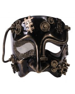 Forum Wire Eye Steampunk Gears & Tubes Sad Face Mask, Gold Black, One-Size