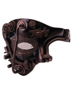 Forum Wire Eye Steampunk Gears & Tubes Half Mask, Bronze Black, One-Size