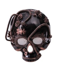 Forum Wire Eye Skull Steampunk Gears & Tubes Face Mask, Bronze Black, One-Size