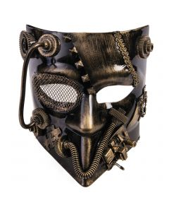 Forum Wire Eye Steampunk Circuit Board Face Mask, Gold Black, One-Size