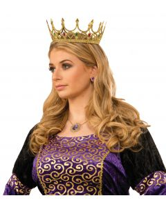 Forum Halloween Cosplay Jeweled Royal Queen Crown, Gold, One Size