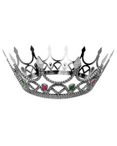 Forum Halloween Cosplay Jeweled Royal Queen Crown, Silver, One Size