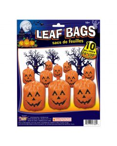 "Pumpkin Jack O Lantern Halloween 24"" x 30"" Leaf Bags, Orange Black, 10 Pack"