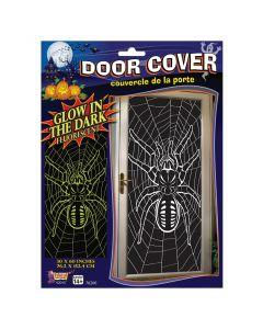 """Forum Glow In The Dark Spider & Web Halloween Decoration 60""""x30"""" Door Cover"""