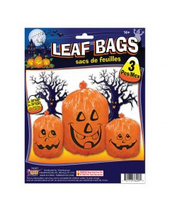 Pumpkin Jack O Lantern Halloween Decoration Leaf Bags, Orange Black, 3 Pack