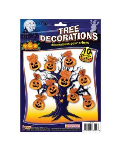 "Pumpkin Tree Halloween Hanging 8"" x 10"" Outdoor Decor, Orange Black, 10 Pack"