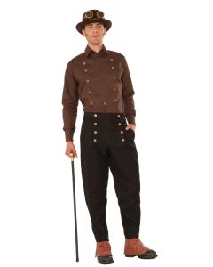 Forum Cosplay Steampunk Double Breasted Costume Shirt, Brown, One-Size