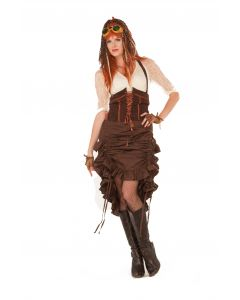 Forum Halloween Cosplay Steampunk Saloon Girl Costume Skirt, Brown, One-Size