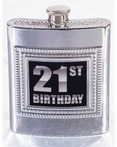 "Forum 21st Birthday Party Plastic Flask 5.5"" Party Cup, Silver"