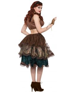 Forum Steampunk Cosplay Multi Layered Bustle Skirt, Brown Blue, One-Size