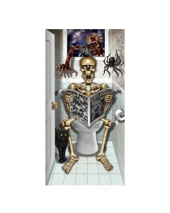 "Forum Bathroom Skeleton on Toilet Halloween 30"" x 60"" Door Cover"