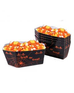Spider Web Coffin Candy Cups Trick or Treat Serving Cups, Black Orange, 6 Pack