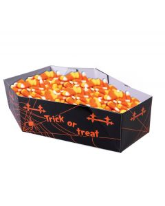 "Forum Spider Web Coffin Trick or Treat 11"" Candy Bowl Favor Box, Black Orange"