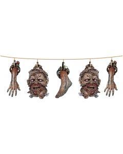Forum Halloween Hanging Zombie Head, Foot, Arm 5' Garland, Beige