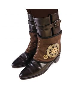 Forum Halloween Cosplay Steampunk Faux Suede Boot Cover Spats, Brown, One-Size