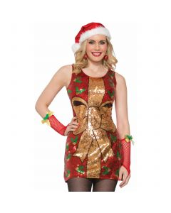 Forum Sexy Christmas Present w Bow Sequin Dress, Red Gold, Medium/Large 8-12