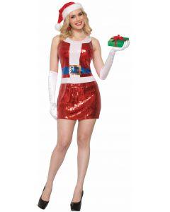 Sexy Miss Santa Sequin Christmas Costume Dress, Red White, Medium/Large 8-12