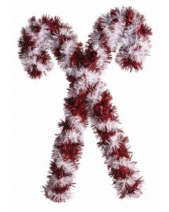"Christmas Tinsel Candy Cane Door Hanger Holiday 14"" Wall Decoration, Red White"