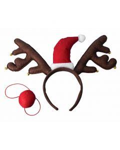 Christmas Reindeer Antlers w Santa Hat & Nose 2pc Accessory Set, Brown Red