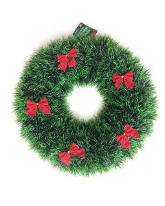 "Forum Holiday Christmas Shiny Tinsel Hanging 15"" Wreath, Green Red"