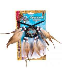 Forum Halloween Dream Catcher Native American Necklace, Brown, One Szie