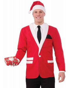 Simply Suited Christmas Classy Santa Claus Costume Jacket & Hat, Red, X-Large
