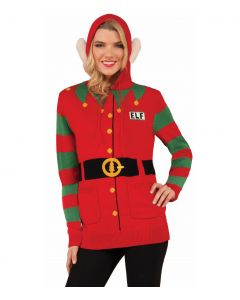 Forum Holiday Christmas Sweater Elf Adult Costume Hoodie, Red Green, Large