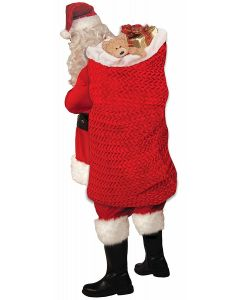 "Forum Large Deluxe Knit Santa Sack Christmas 46"" x 28"" Gift Bag, Red White"