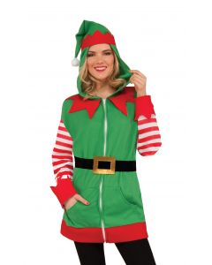 Forum Christmas Elf Costume Hoodie, Red Green White, One-Size 45-46 Chest