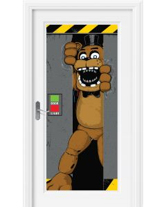Forum Five Nights at Freddy's Security Breakthrough 5' Door Cover, Grey Brown