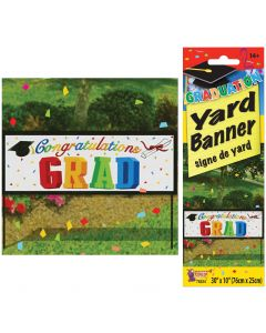 "Congratulations Grad Party Outdoor Banner 30""x10"" Yard Sign, White Multi"