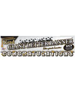 Forum Graduation Congratulations 10' Letter Banner, Black Gold Silver